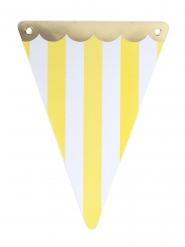 Guirlande 5 fanions Circus jaune festons dorés 15 x 21 cm