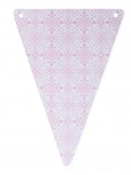 5 Fanions en carton carreaux de ciment rose 15 x 21 cm