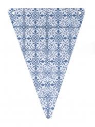 5 Fanions en carton carreaux de ciment bleu marine 15 x 21 cm
