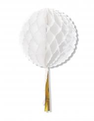 Boule en papier alvéolée avec tassel blanche 30 cm