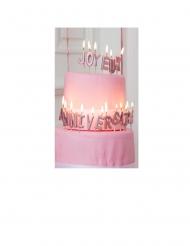 Bougies sur pic lettres Joyeux Anniversaire rose gold métallisé 4,3 cm