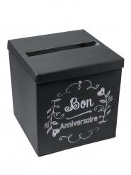 Urne Bon Anniversaire noir et blanc 30 cm