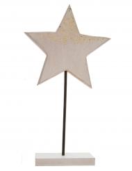 Etoile scintillante en bois et paillettes dorées 9 x 4 x 23 cm