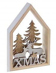 Cabane en forêt de Noël en bois naturel et paillettes 9 x 3 x 14,5 cm