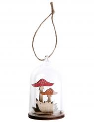 Suspension champignon en verre et bois 8 x 8,5 x 10 cm