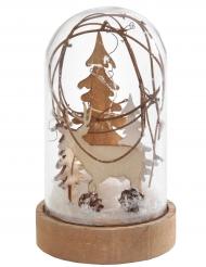 Boule à neige en verre Cerf lumineuse 7,5 x 12,5 cm