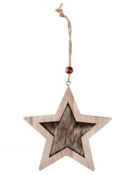 Suspension étoile en bois naturel 11 x 11 x 10 cm