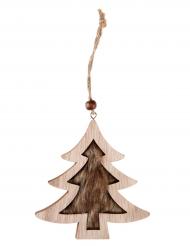 Suspension Sapin en bois naturel 11 x 10 cm