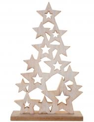 Mosaïque d'étoiles Sapin en bois naturel 19 x 5 x 31 cm