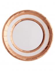 10 Assiettes en carton blanc et cuivre métallisé 23 cm