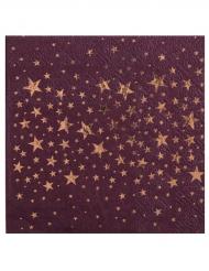 20 Petites serviettes en papier Etoiles prune 25 x 25 cm