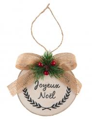 Suspension en bois naturel Houx de Noël 8 x 10 cm