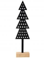 Décoration en bois Sapin triangulaire noir 7,5 x 2,5 x 31 cm