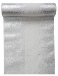 Chemin de table en coton argenté métallisé blanc 3 m