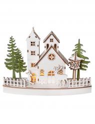 Décoration village de Noël lumineux en bois naturel 27 x 7 x 20 cm