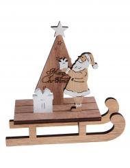 Luge du Père Noël en bois naturel 12 cm