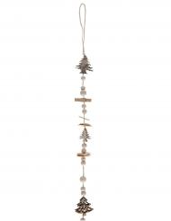 Suspension avec perles, pinces et sapins en bois naturel 116 cm