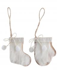2 Suspensions Moufle et Chaussette en bois blanc 7,5 x 10 cm
