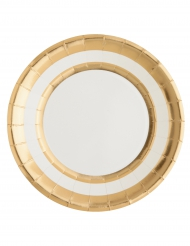 10 Assiettes en carton blanc et doré métallisé 23 cm