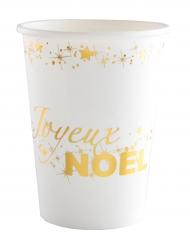 10 Gobelets en carton Joyeux Noël blanc et or 12 cl