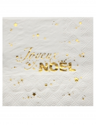 20 Petites serviettes Joyeux Noël blanc et or 25 x 25 cm