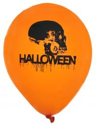 8 Ballons en latex Halloween orange et noir 23 cm