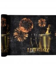 Chemin de table en tissu Happy New Year noir 5 m