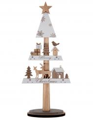 Décoration sapin en hiver en bois naturel 10 x 4,5 x 29,5 cm
