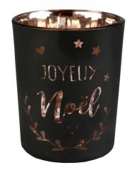Photophore en verre Coeur de Noël métallisé noir et cuivre 5,5 x 6,7 cm