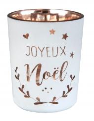 Photophore en verre Coeur de Noël métallisé blanc et cuivre 5,5 x 6,7 cm