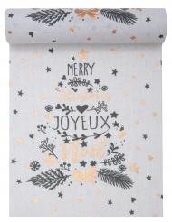 Chemin de table en coton Coeur de Noël métallisé blanc 3 m