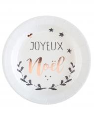 10 Petites assiettes en carton Coeur de Noël cuivré 18 cm