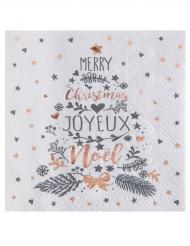 20 Petites serviettes en papier Coeur de Noël cuivré 25 x 25 cm