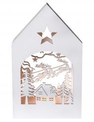 Petite maison enchantée en bois blanc 12 x 4 x 20 cm