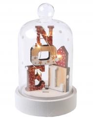 Boule en verre de Noël lumineuse en bois 7,5 x 12 cm