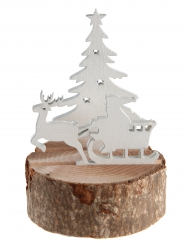 Traîneau du Père Noël en bois naturel 8 x 11,5 cm
