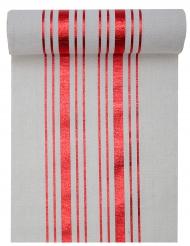 Chemin de table en coton rayures rouge métallisé et blanc 28 cm x 3 m