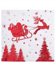 20 Serviettes en papier Traîneau du Père Noël blanc et rouge 33 x 33 cm