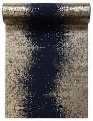 Chemin de table en coton Eclat bleu et doré métallisé 28 cm x 3 m