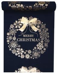 Chemin de table Merry Christmas en tissu bleu et doré métallisé 28 cm x 3 m