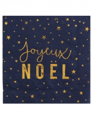 20 Petites serviettes en papier Joyeux Noël bleu et or 25 x 25 cm