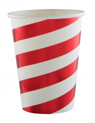 10 Gobelets en carton rayures blanc et rouge métallisé 7,8 x 9,7 cm