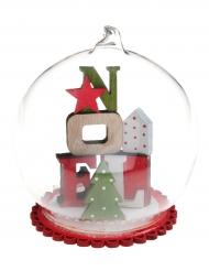 Boule en verre Cube de Noël en bois rouge 9 x 10 cm