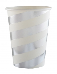 10 Gobelets en carton blancs et argentés métallisés 7,8 x 9,7 cm
