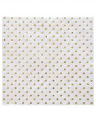 20 Petites serviettes en papier blanc à pois doré métallisé 25 x 25 cm