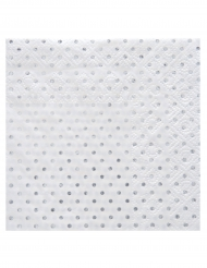 20 Petites serviettes en papier à pois argenté métallisé 25 x 25 cm