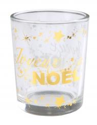 Photophore en verre Joyeux Noël étoilé doré métallisé 5,5 x 6,7 cm