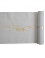 Chemin de table en coton Joyeux Noël gris et doré métallisé 28 cm x 3 m