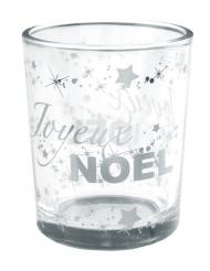 Photophore en verre Joyeux Noël étoilé argenté métallisé 5,5 x 6,7 cm