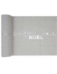Chemin de table en coton Joyeux Noël argenté métallisé 3 m